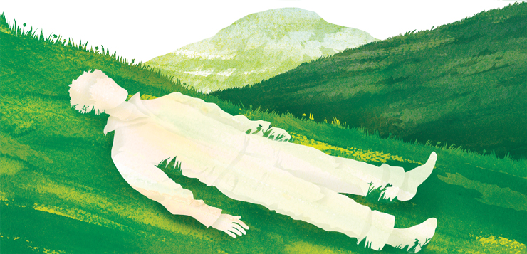 illustration of person lying in grass