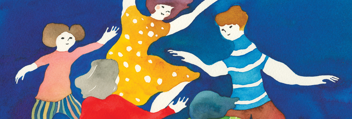 watercolor of family dancing in a circle