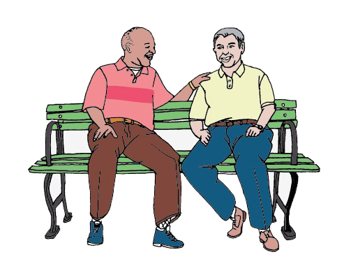 two older men on bench, chatting happily