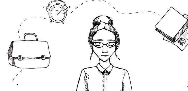 illustration of woman practicing meditation, work swirling around head