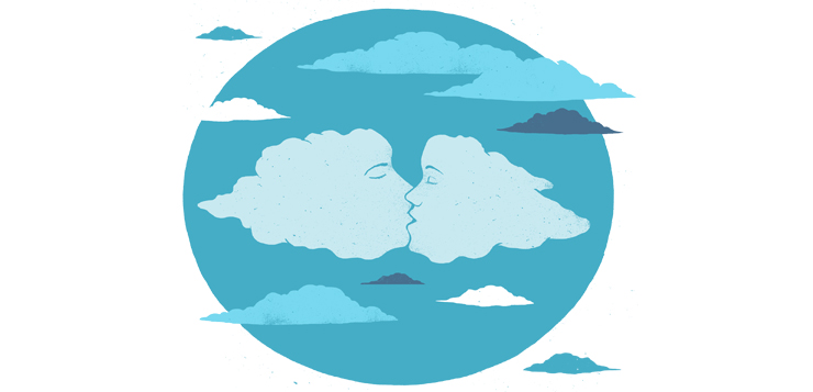 illustration of faces in clouds kissing
