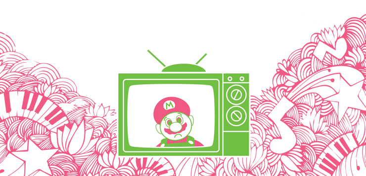 SuperMario illustration in a television, surrounded by doodles