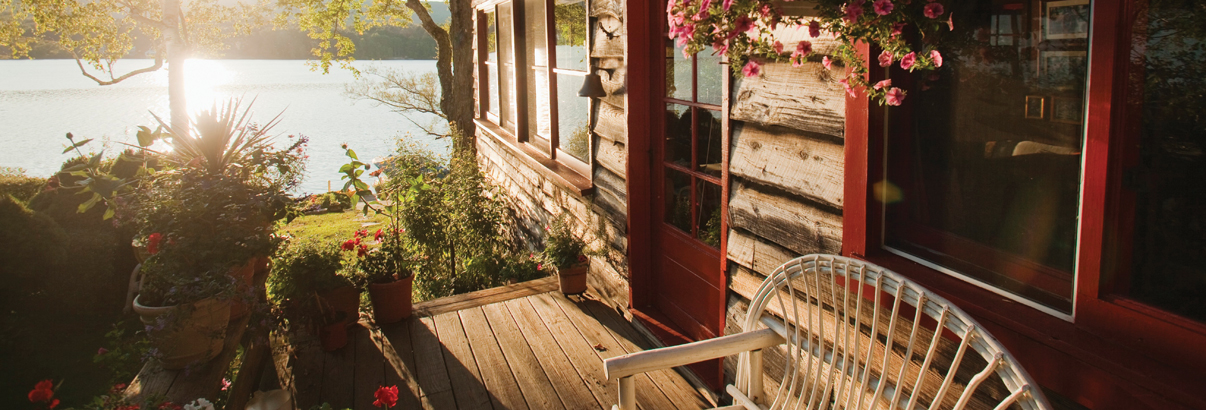 beautiful cottage deck on sunny day