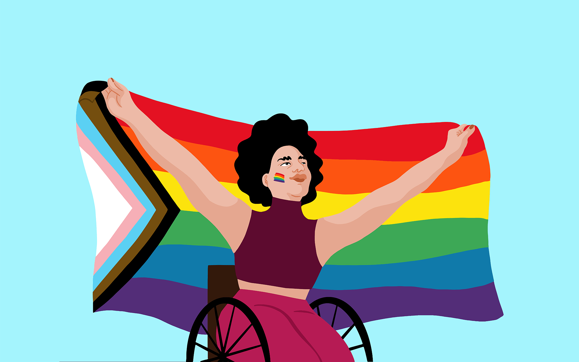 Illustration of a person using a wheelchair holding up the Philly Pride flag behind them over a light blue background. The person has short, black, curly hair, their skin is light, and they have a small rainbow on each of their cheeks.