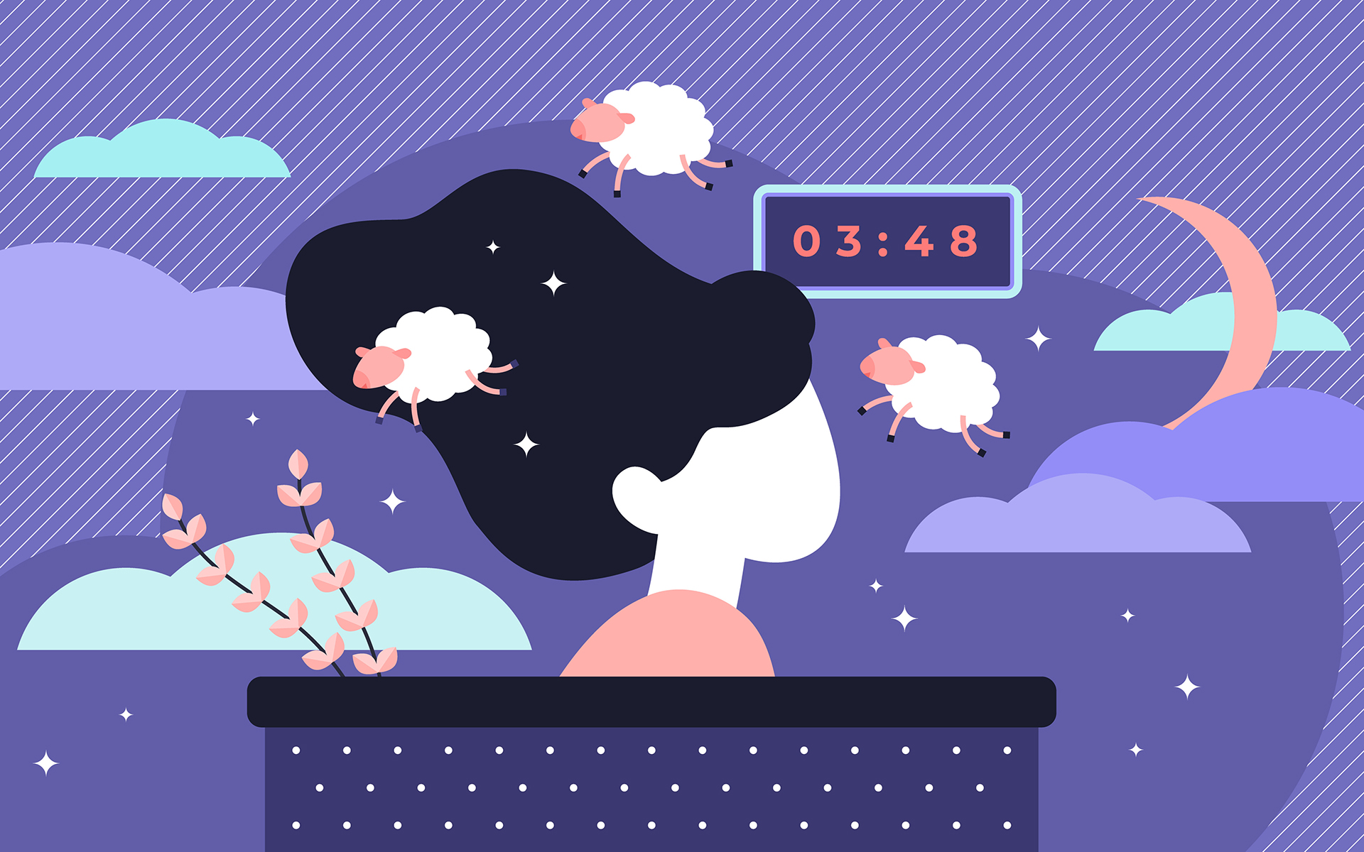 Illustration of woman sleeping with an alarm clock behind her, the moon and clouds around her on purple background