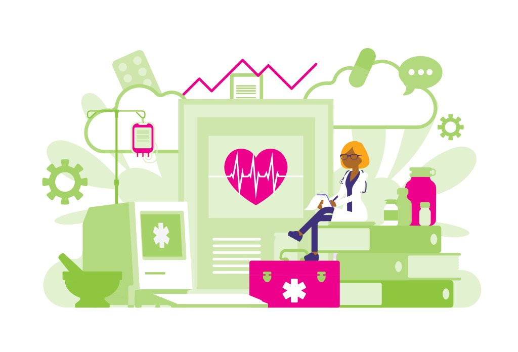 Mindfulness for healthcare workers - Illustration of a healthcare worker reading a heart monitor