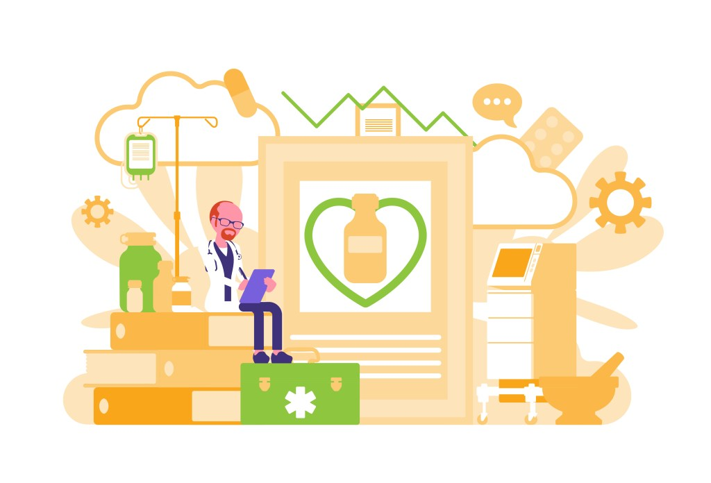 Mindfulness for healthcare workers - Illustration of a healthcare worker reading and doing research