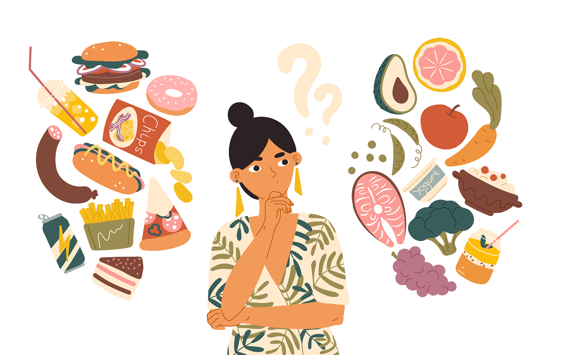 How to Break a Habit, According to Neuroscience—Illustration of a woman with black hair and a white and green shirt on thinking. On one side of her are floating images of junk food, and on the other side there are floating images of healthy food.