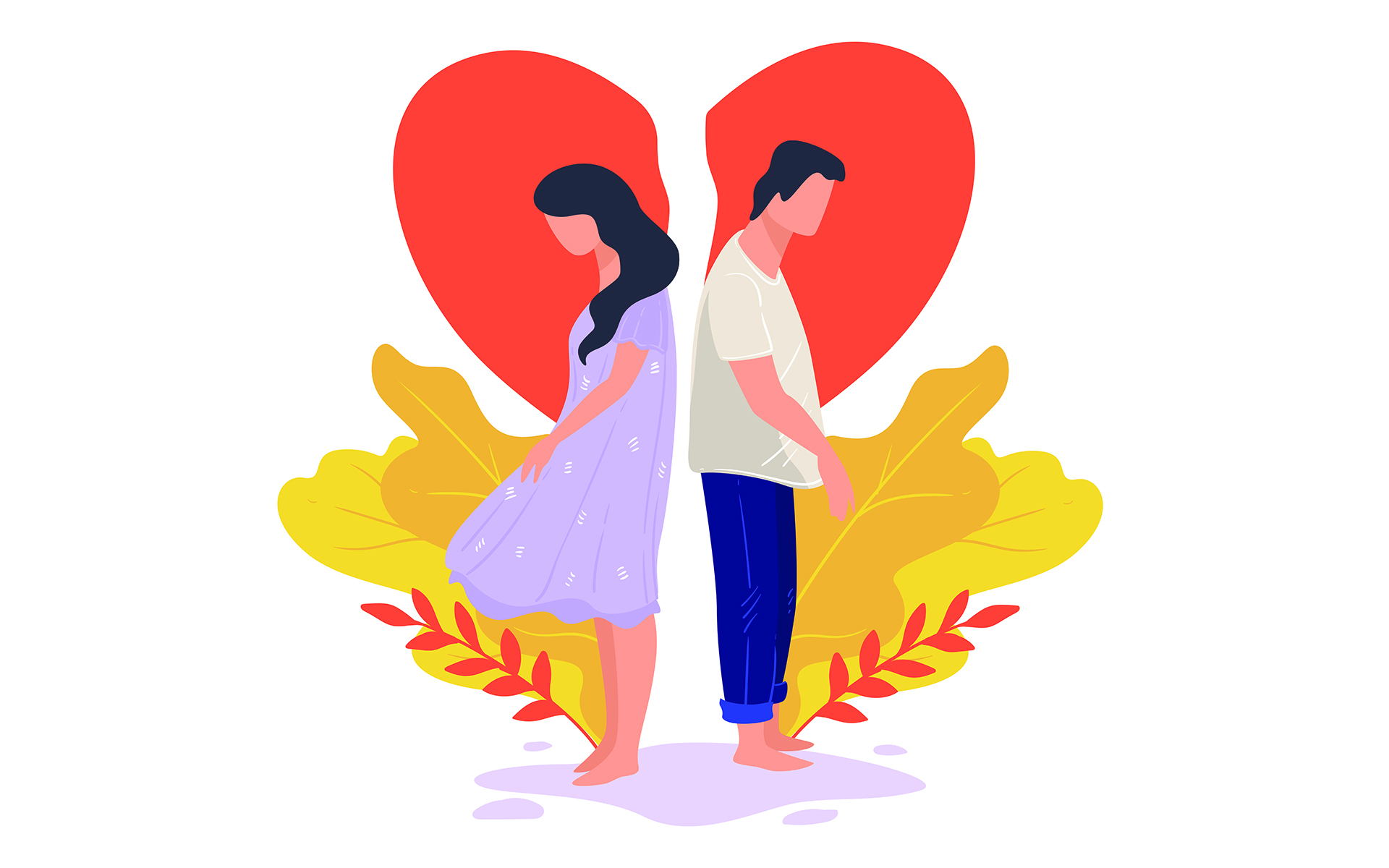 How to know if you've married the wrong person - An illustration of a distressed couple standing back to back with their heads lowered