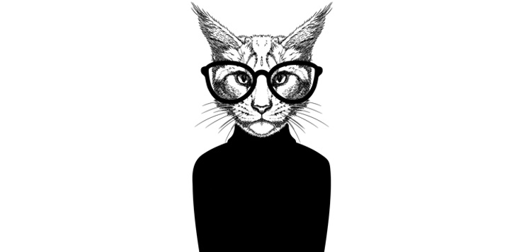 illustration cat with glasses on