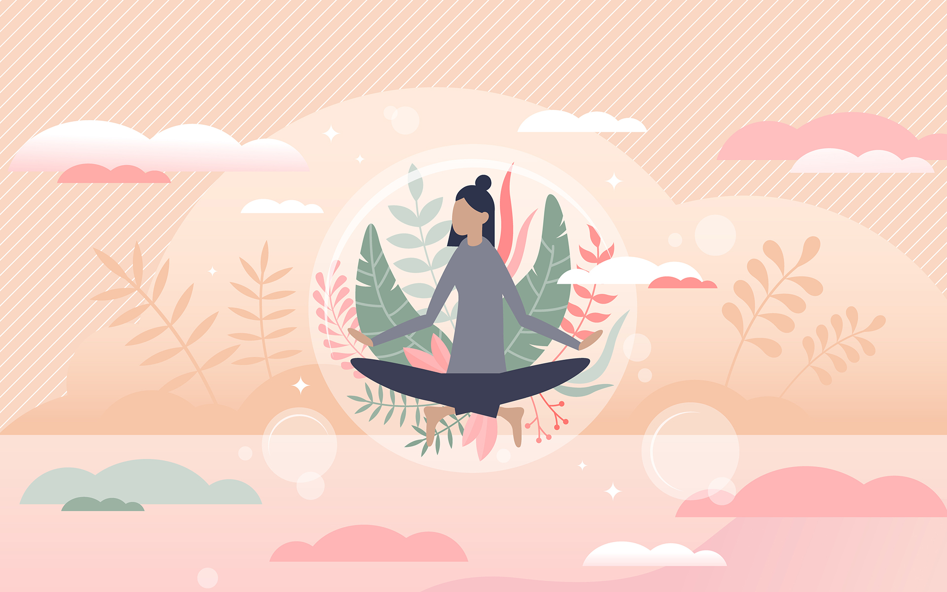 Let Your Practice Guide You Beyond Crisis Mode - Illustration of a woman seated in meditation