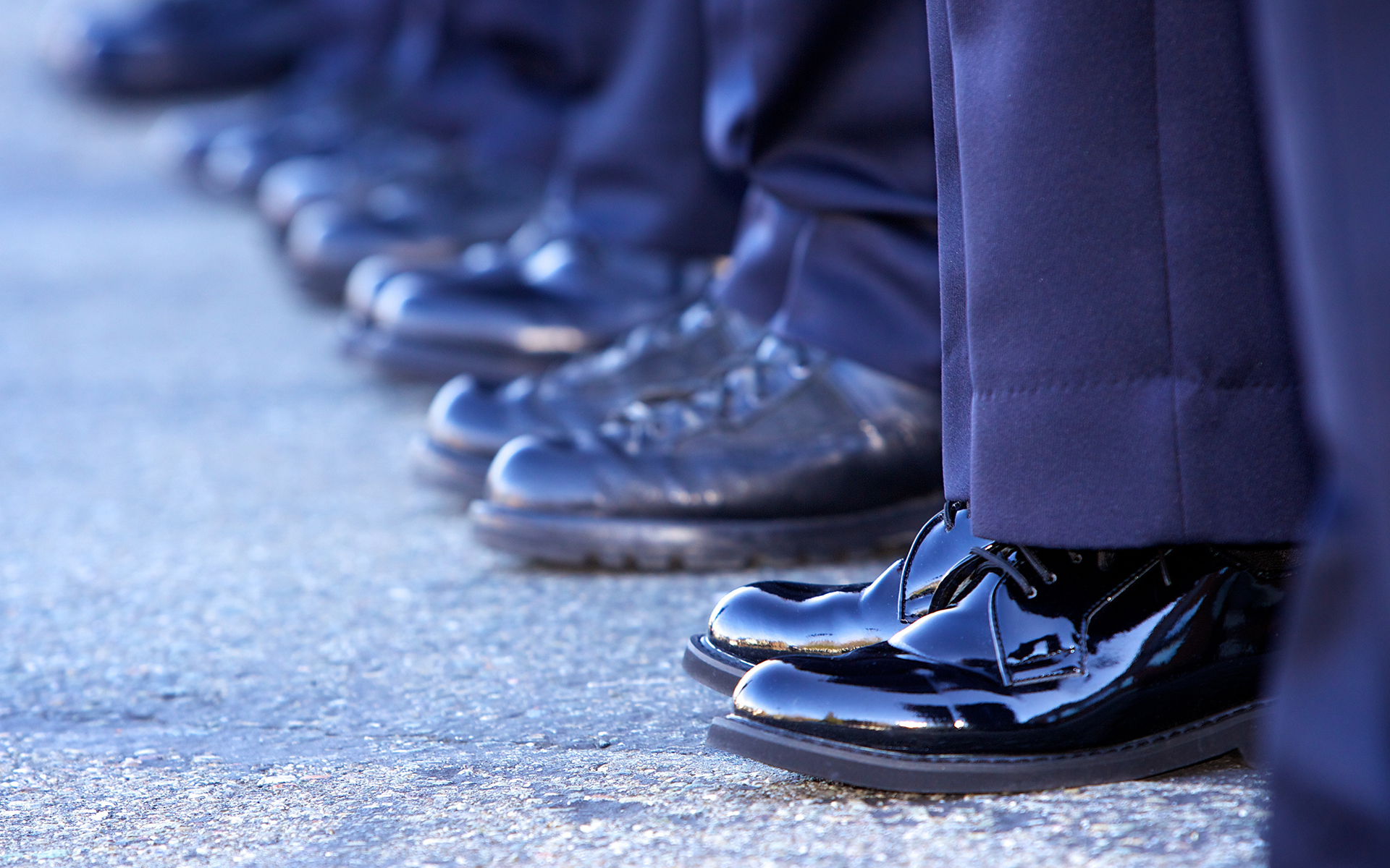 Mindful policing - systemic change - police officers line up in a row