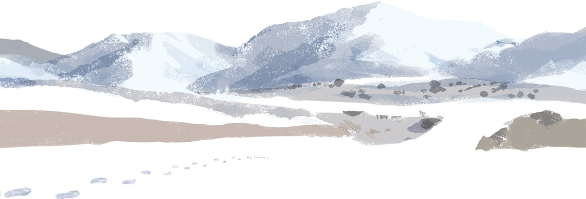 watercolor of snowy mountains with footprints in snow