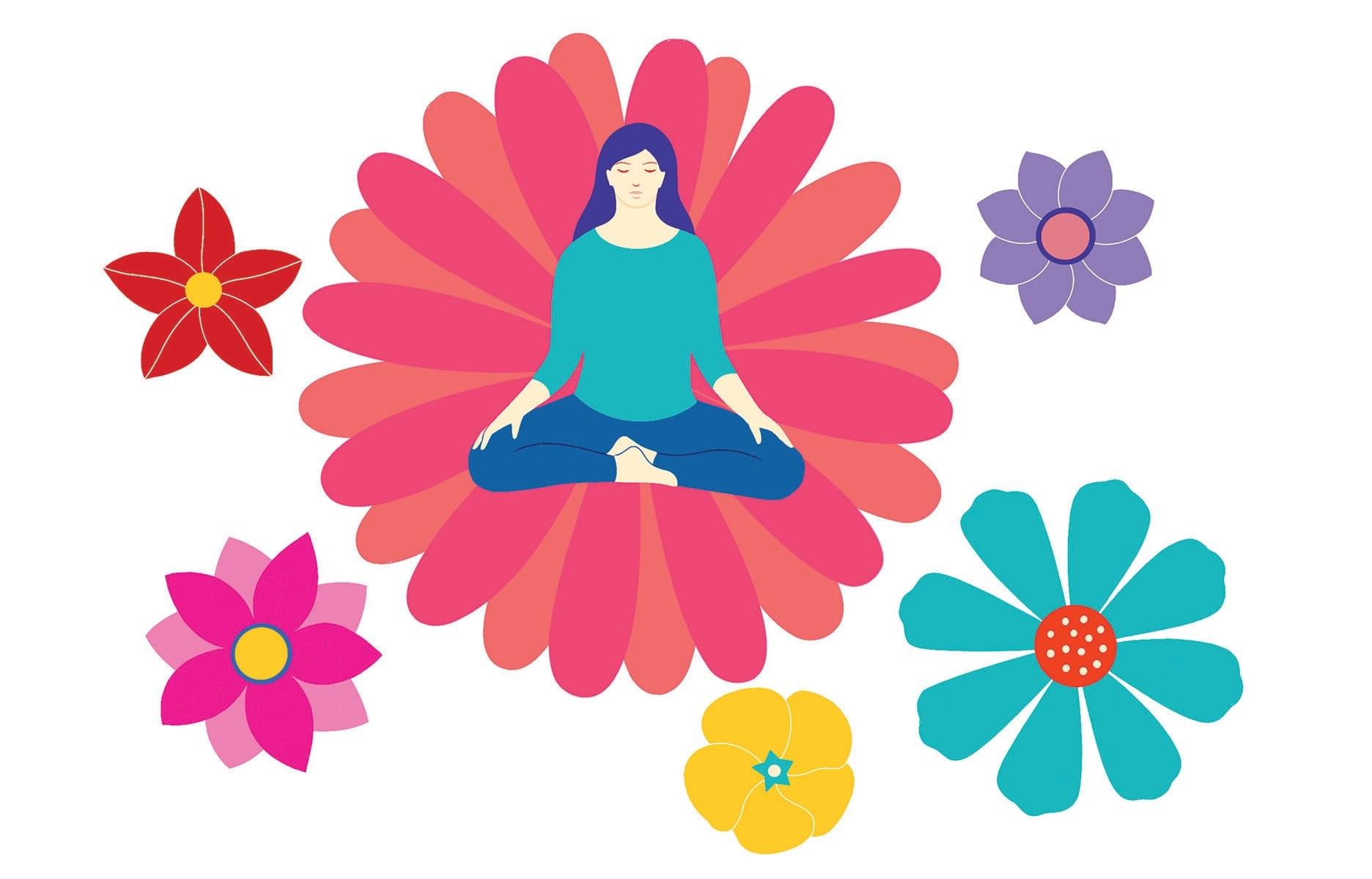 The Power of Sustainable Self-Care - Illustration of a women seated in meditation