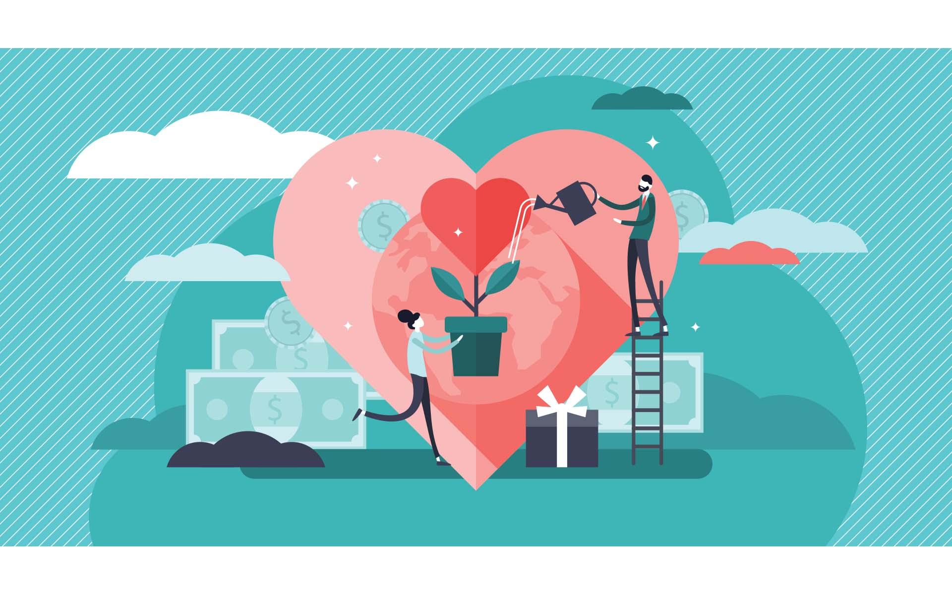 the gift of Loving-Kindness_Illustration of two people watering a plant with a heart flower