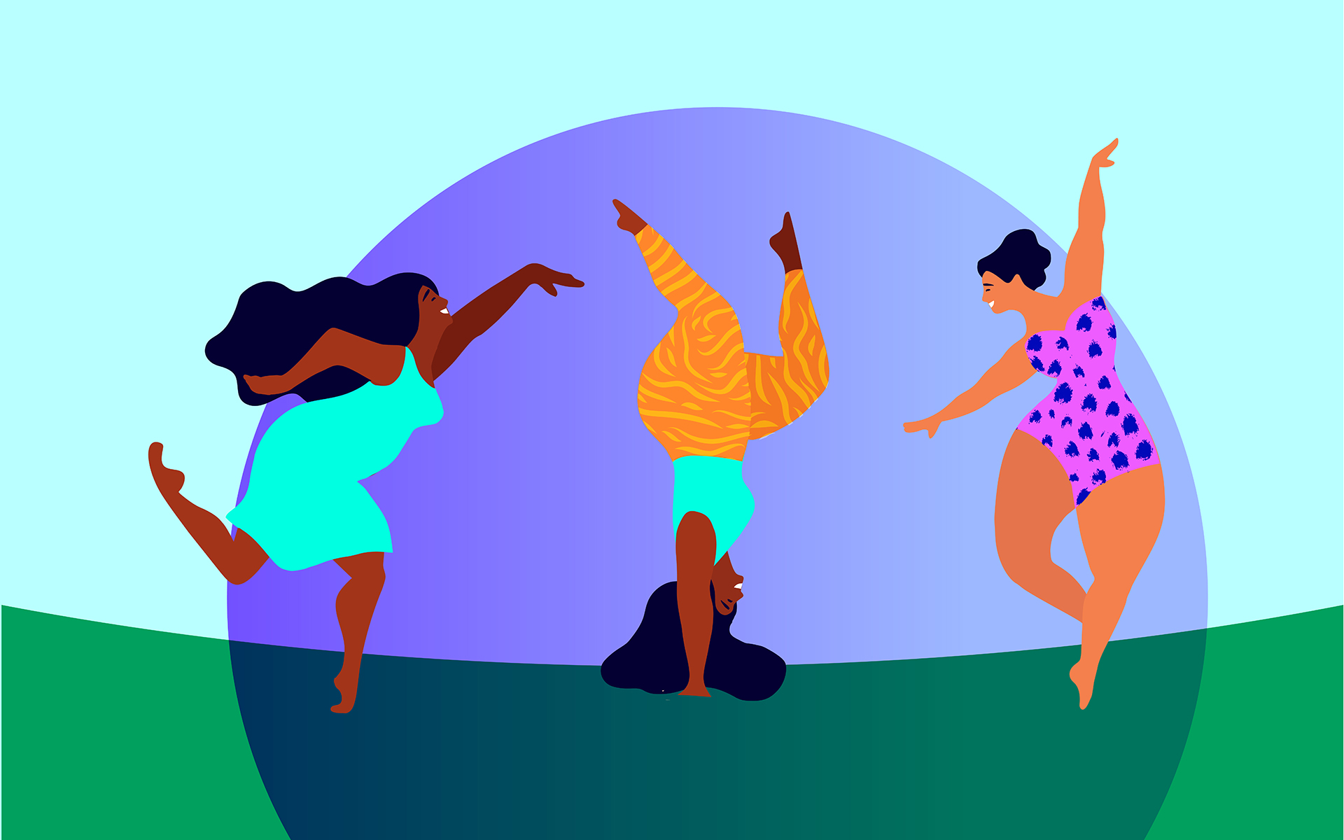 The Connection Between Mindfulness and Body Image - Illustration of three women doing yoga