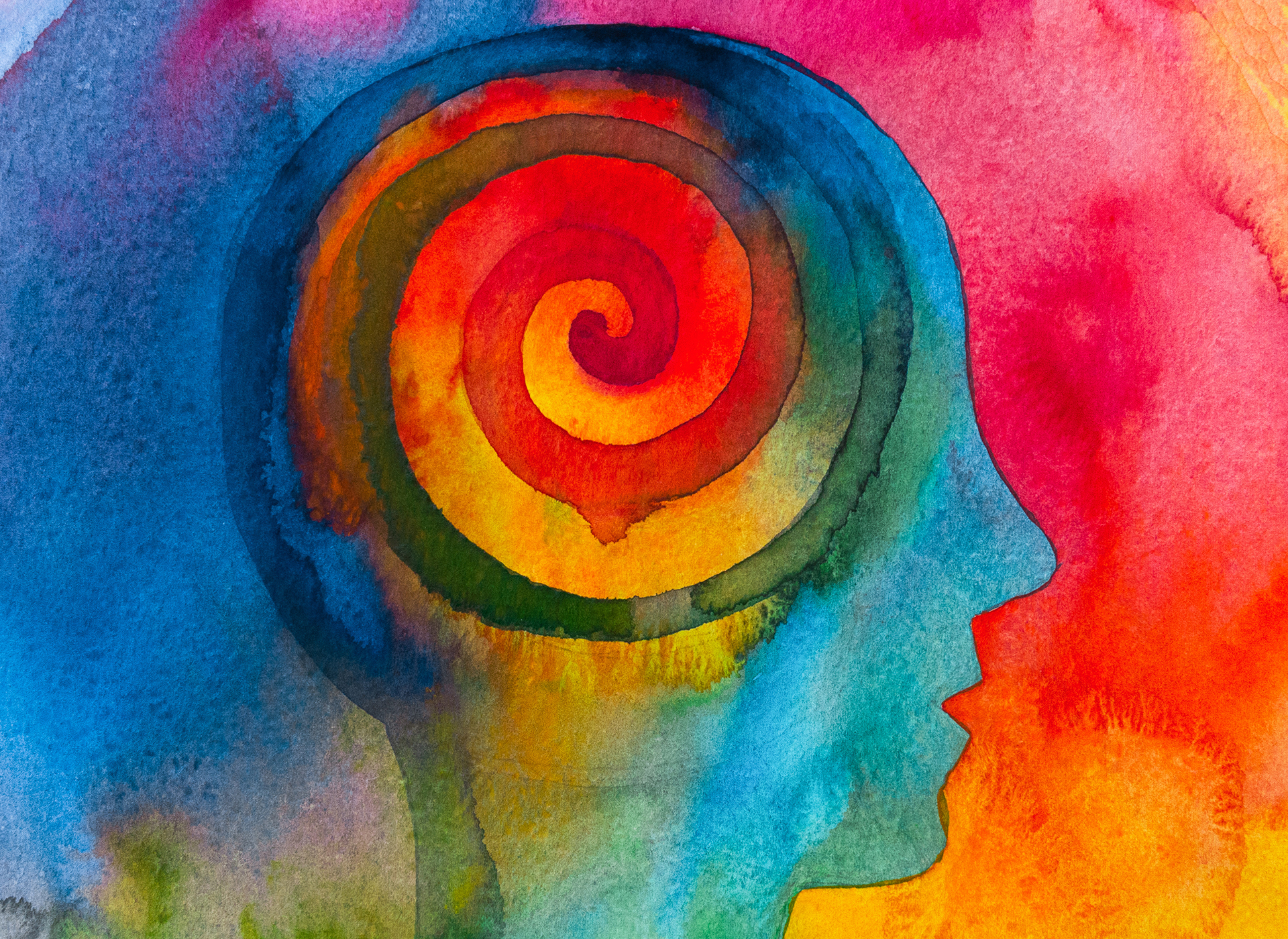This is why we practice mindfulness meditation - swirling thoughts in colourful illustration of a head