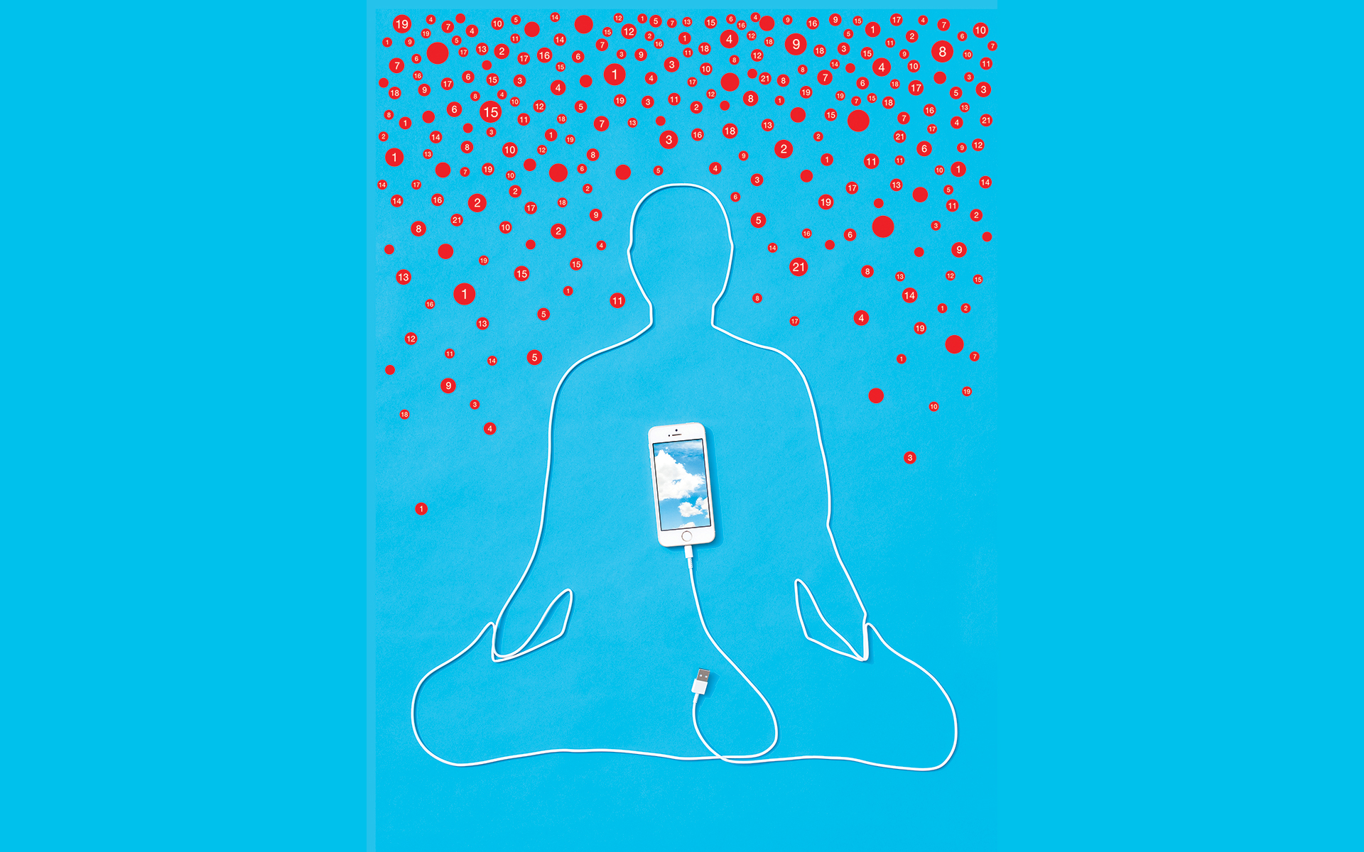 person meditating with phone