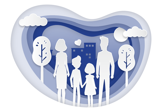 Mindful Parenting Resources - Illustration of four people in a family holding hands