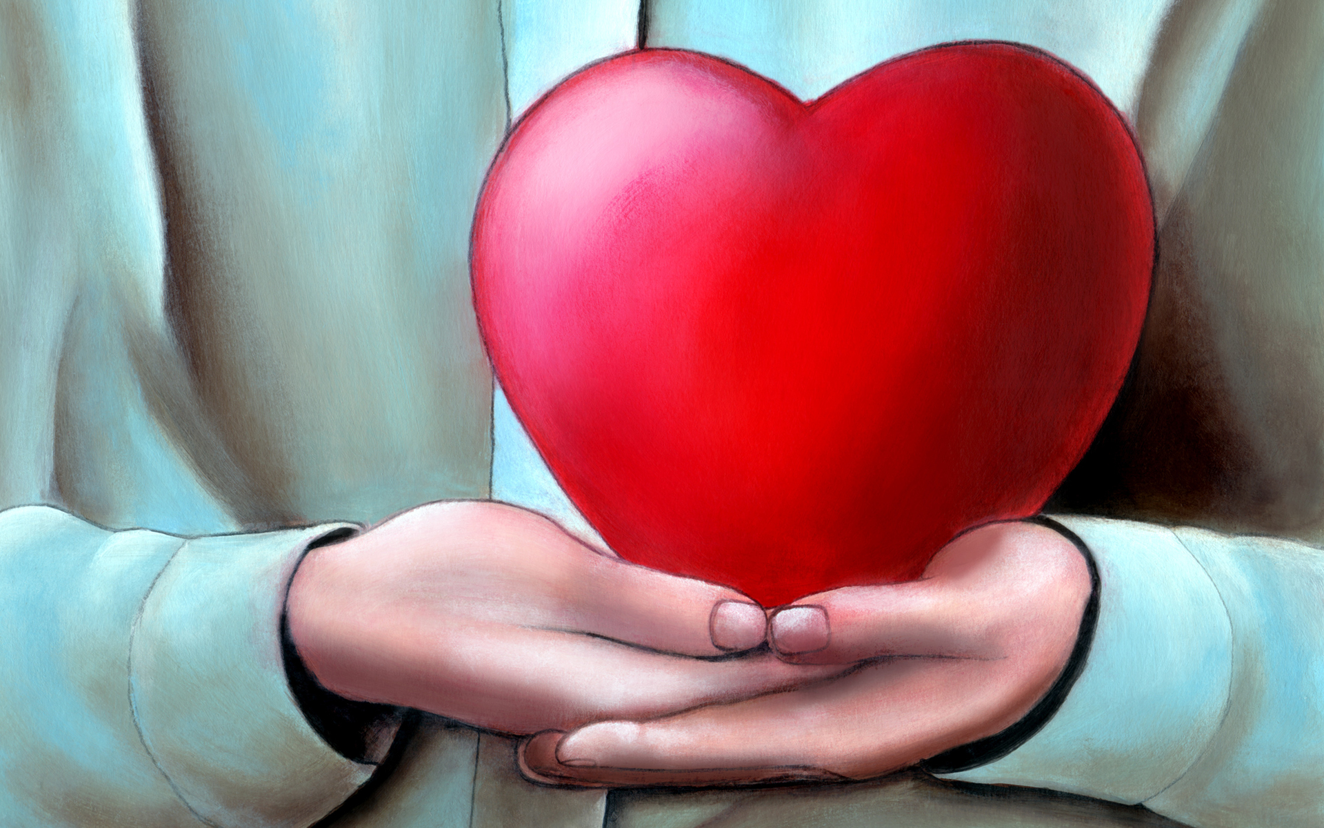 illustration of hands holding big red heart