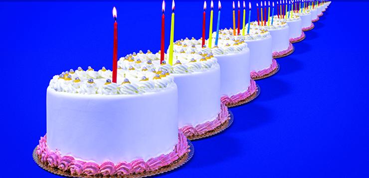 birthday cakes in row