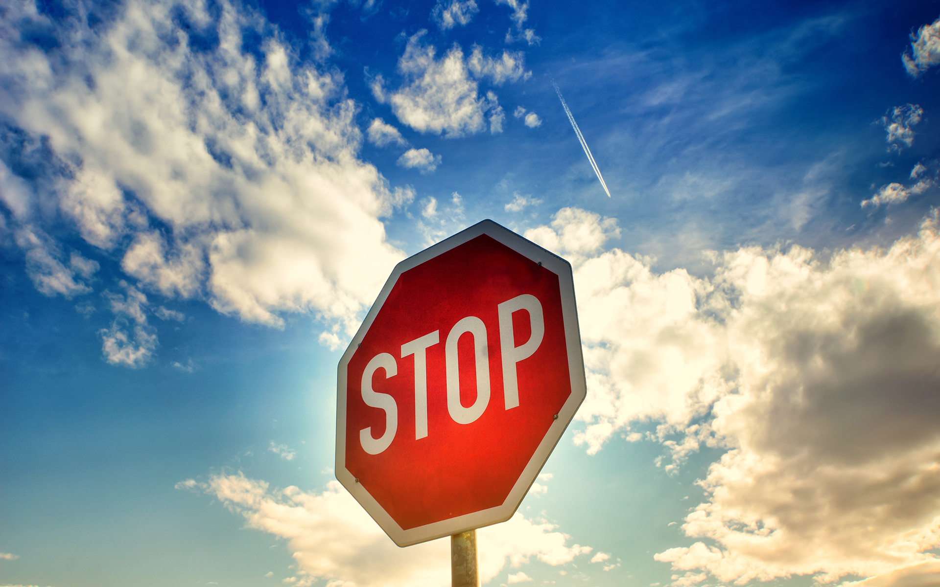 stop sign and sky
