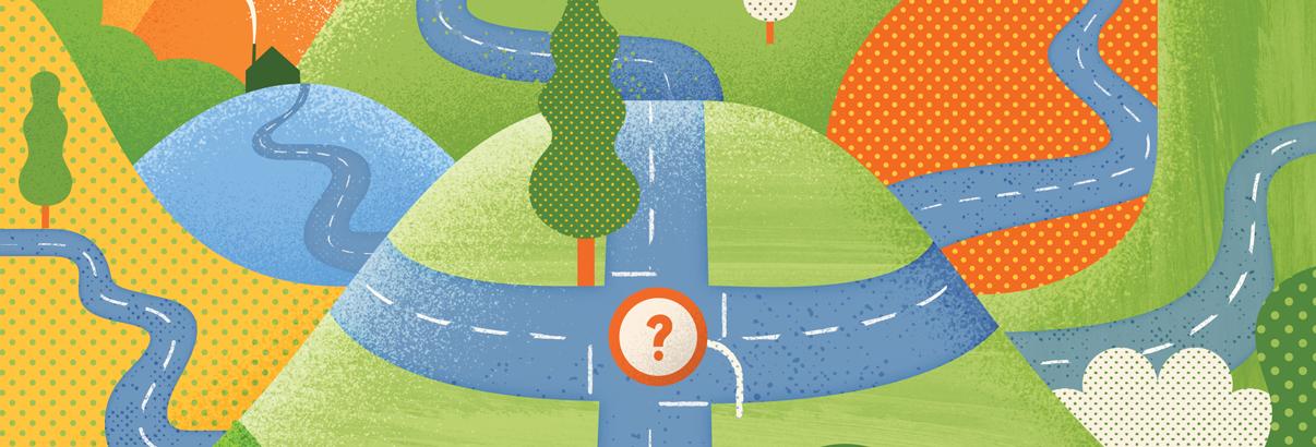 illustration of winding road through mountains, fun cartoon style