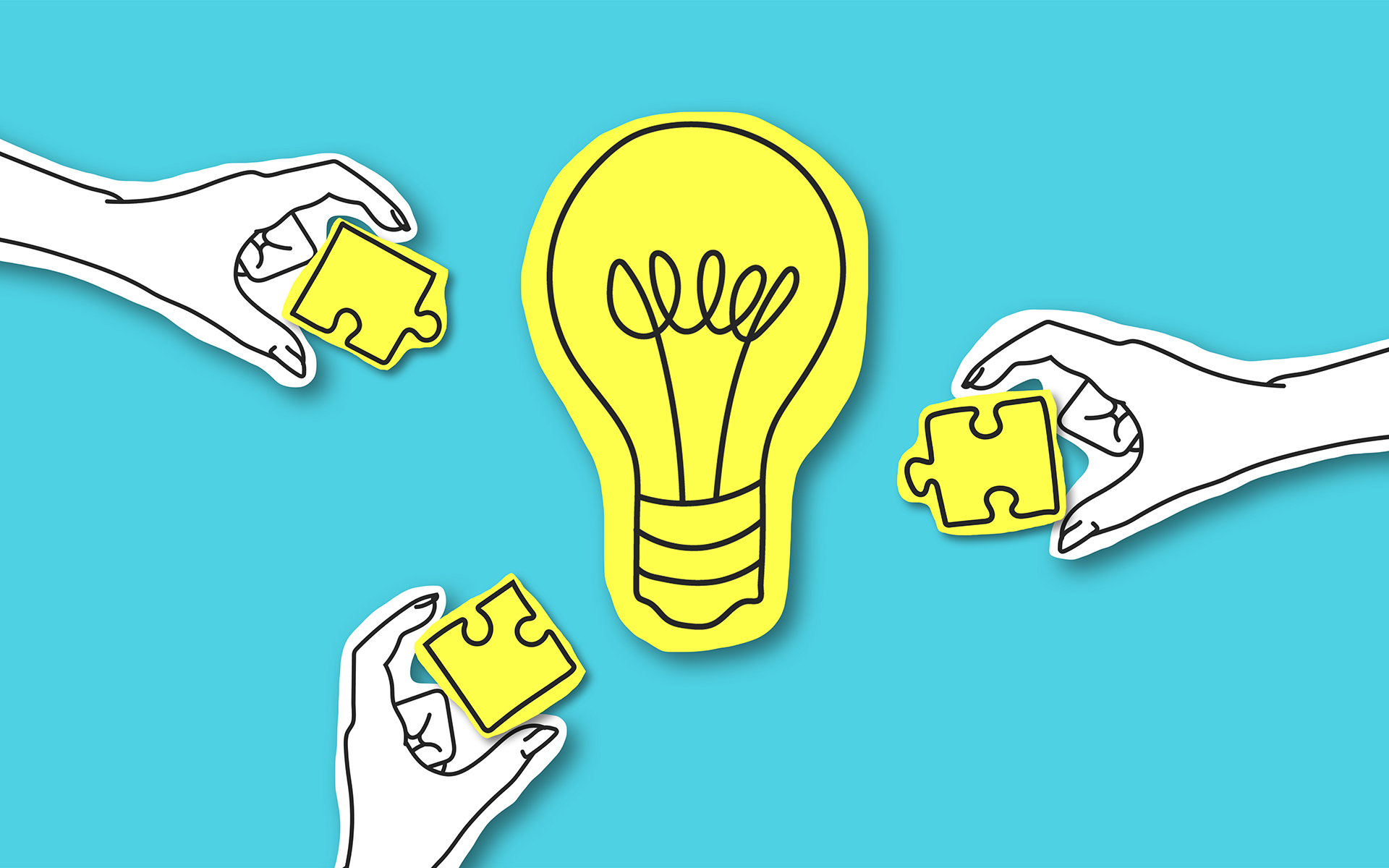 Growth Mindset Fixed Mindset - Teamwork, creative society, platform. Hands with puzze peaces around yellow light bulb over blue background