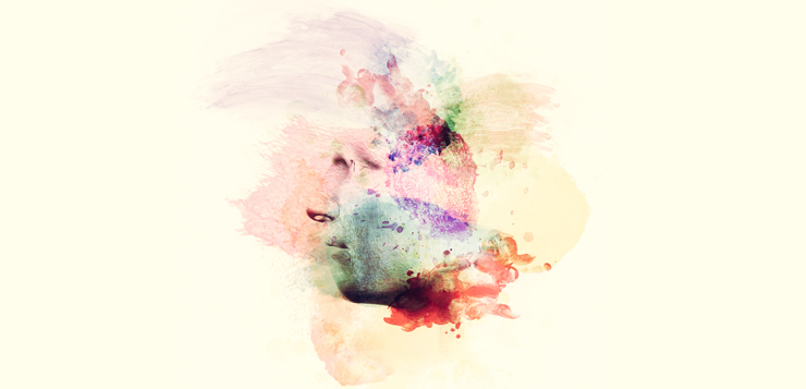 illustration watercolor of man's face