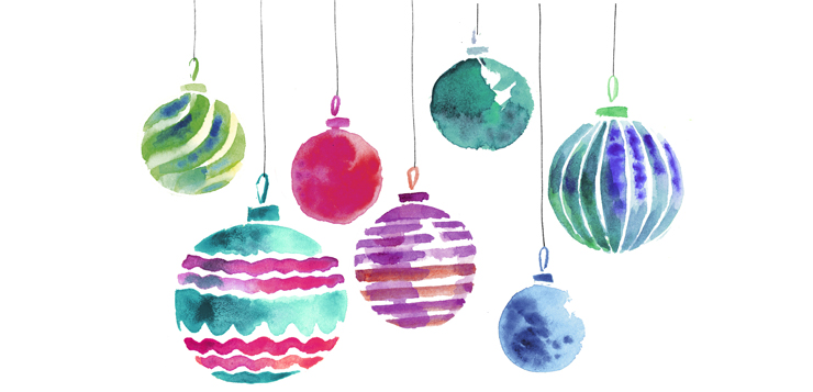 watercolor of holiday ornaments