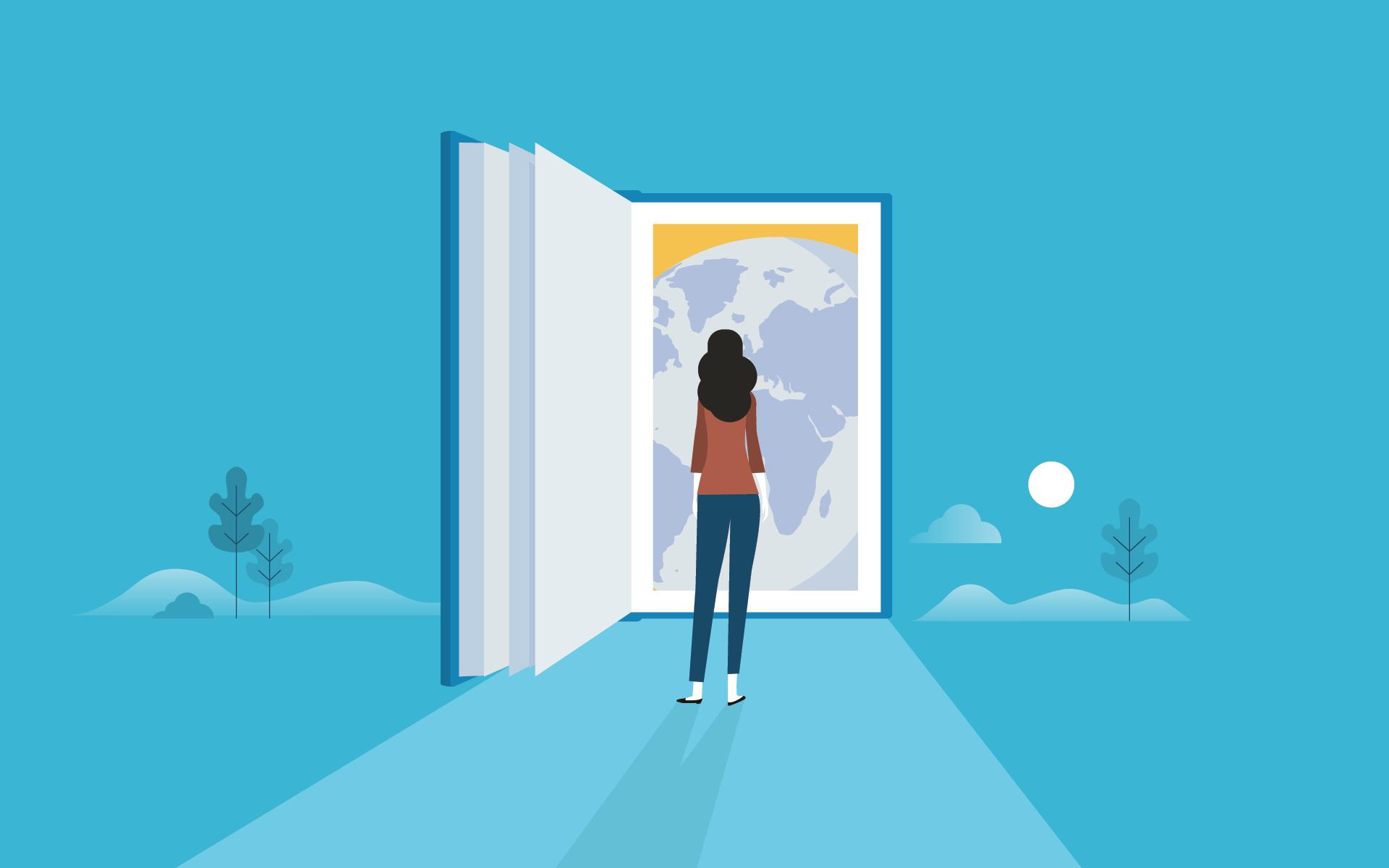 woman standing in front of open door