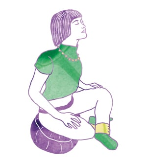 illustration of woman arching her spine in seated meditation pose