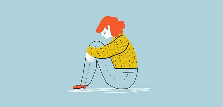 illustration of teen looking sad, sitting on ground