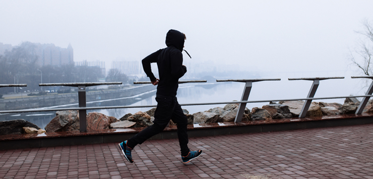 running going through city