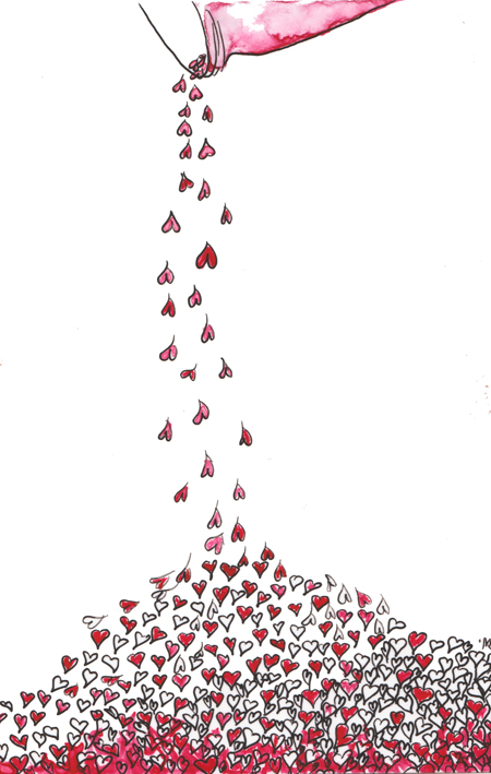 hearts pouring out of a jar, illustration