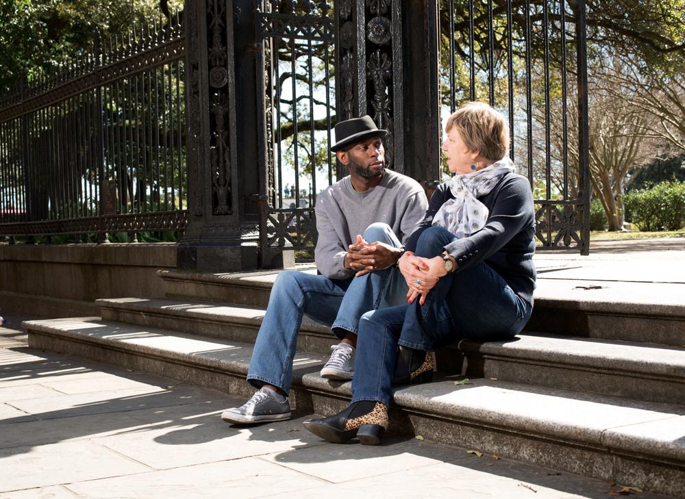 Steven and Nancy sitting on steps