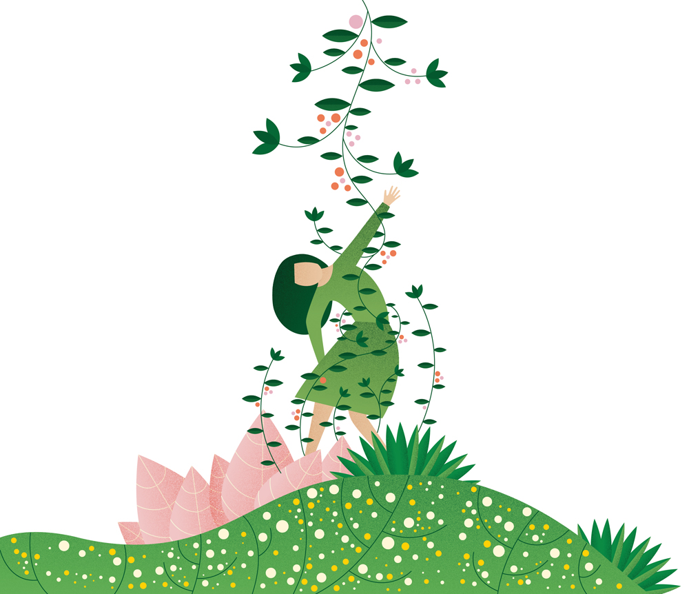 illustration woman attached to vines