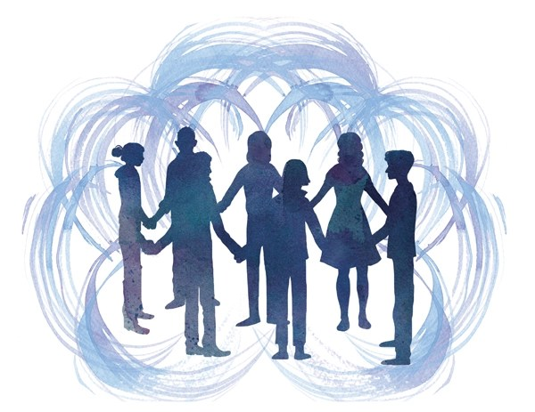 illustration people holding hands in circle
