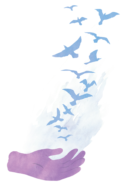 illustration hands with birds flying out