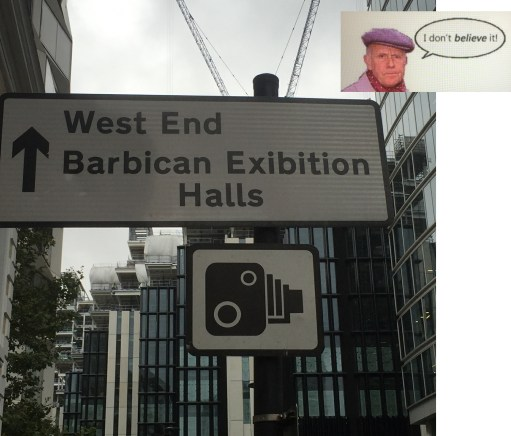 "Mispelled sign for ""Barbican Exhibtion Halls"". The ""h"" is missing from the workd exhibtion!"