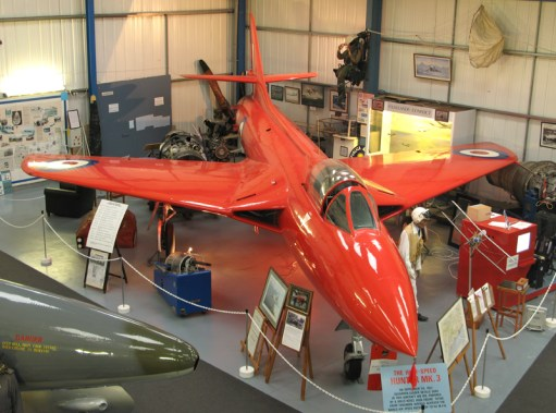 September 1954: Red Hawker Hunter MK3 in Tangmere Museum.