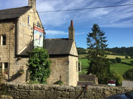 Laurie Lee: The Woolpack at the start of the walk with Swifts Hill behind the pine tree near the end.