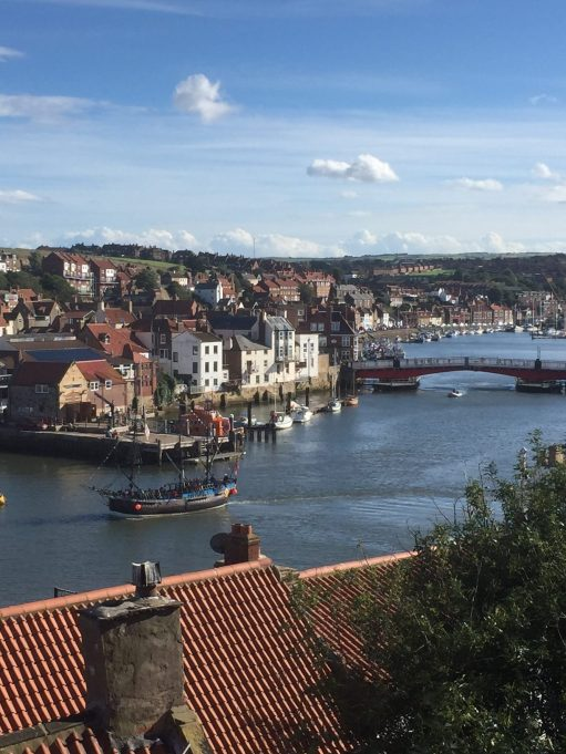 Whitby Harbour - the swing bridge and the pirate ship.