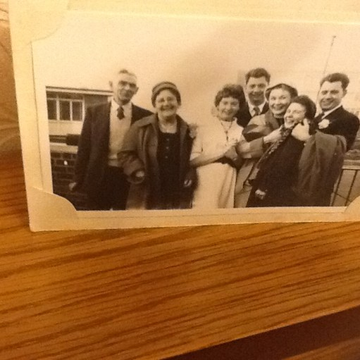 Middlesbrough: Diddley's Yorkshire family. Yorkshire gran and grandad on the left, then Brenda, Bill, Bet, Sylvia and Denis. Photo taken in 1959 at wedding party.