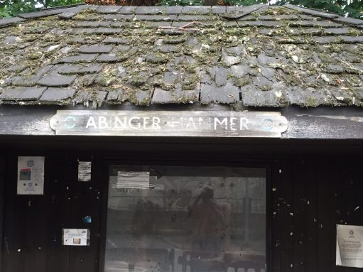 London Transport Museum: Decrepit bus shelter from Abinger Hammer, Surrey. New one there thankfully. Still boring.