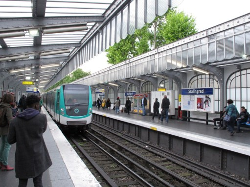 Paris: Metro above ground at Stalingrad.