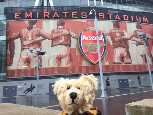 Sutton United: Bertie outside the Arsenal Emirates Stadium