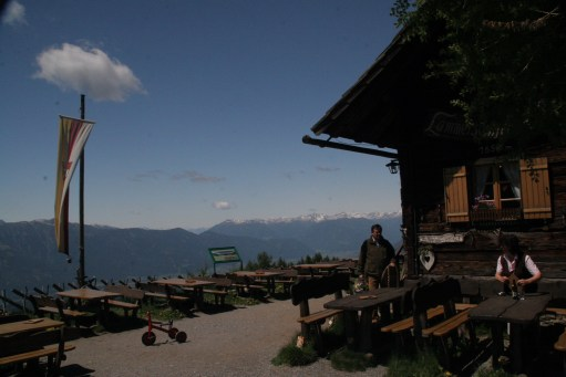 Austria: Lammersdorfer Hutte - food with a view to the Dolomites.