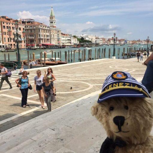 """Bertie in Venice wearing his """"Venezia"""" Captain's Cap."""