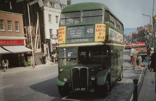 The Bench: Dorking High Street 1969….. The 470 (notice Woolworths). Those were the days. Take note of the sign board on the bus.
